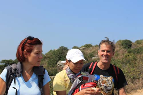 John, Winda, Friederike hiking on Lamma