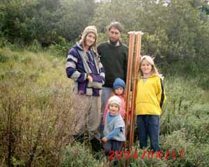 A family with their new orgonite cloudbuster