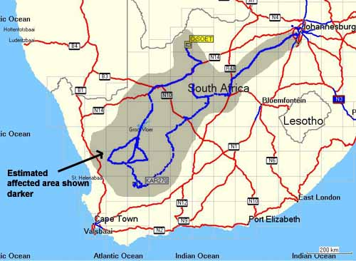 map of all the orgonite gifts laid out on this orgone gifting trip to the Karoo