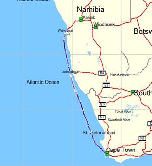 orgonite trail from Cape Town to Walvis Bay