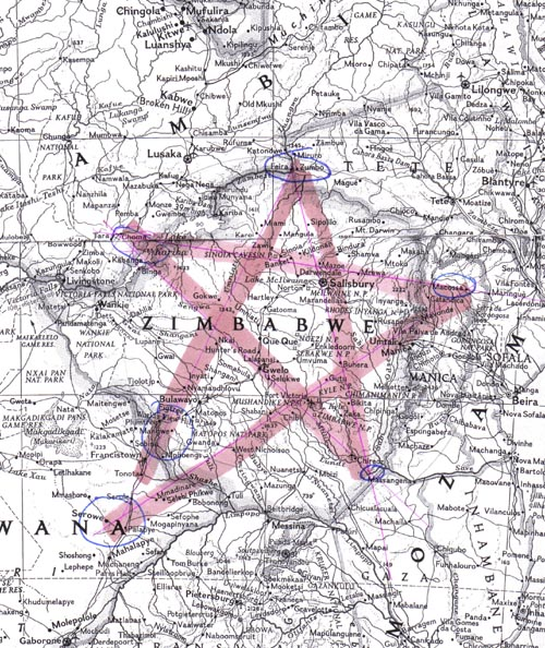 satanic pemntagram over zimbabwe