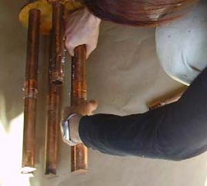 make your own orgonite : rigging the short pipes for the CB