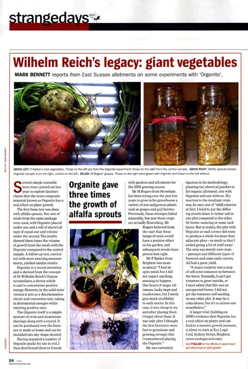 plant growth experiment published in Fortean Times