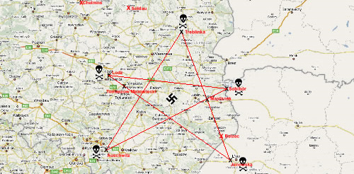 Evil pentagram formed by Nazi Extermination camps