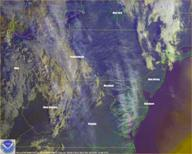 Satellite image showing chemtrails over Maryland USA