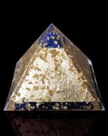 orgonite pyramid lapis and gold