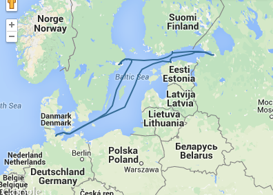 itinerary of our orgonite gifting tour in the Baltic Sea